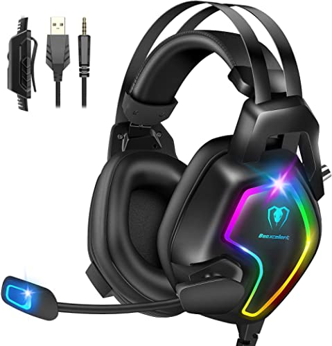 Gaming Headset for PS4 PC Xbox One Controller, Professional PS4 Headset with 7.1 Surround Sound, Noise Cancelling Mic...