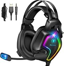 Gaming Headset for PS4 PC Xbox One Controller, Professional PS4 Headset with 7.1 Surround Sound, Noise Cancelling Mic, RGB...