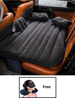 HSR Inflatable Car Bed Mattress with Two Air Pillows, Car Air Pump and Repair Kit (Multi Color)