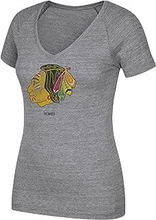 adidas NHL Chicago Blackhawks Womens CCM Retro Logo 3 Tri-Blend V-Neck Teeccm Retro Logo 3 Tri-Blend V-Neck Tee, Dark Grey Heathered, Medium