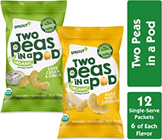 Sprout Organic Two Peas in a Pod Plant Powered Protein Puffed Snacks, Variety Pack, 0.85 Ounce Single Serve Packets (Pack of 12) 6 Each: Aged White Cheddar/ Sour Cream & Chive (Packaging May Vary)