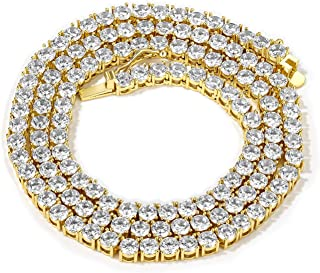 Ice Crystal Cube Tennis Diamond Necklace Gold Plated Zirconia Ladies Necklace Men's Customized Link Clasp