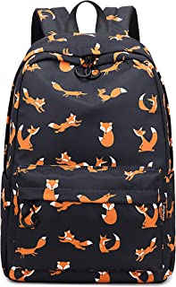 Water Resistant Fashion College Backpack with 15.6 Laptop Pouch Cute Bookbag for Teen Girls Black Fox