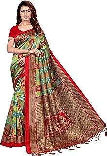 Red Traditional Printed Saree Art Silk Women Ethnic Jhalar Sari