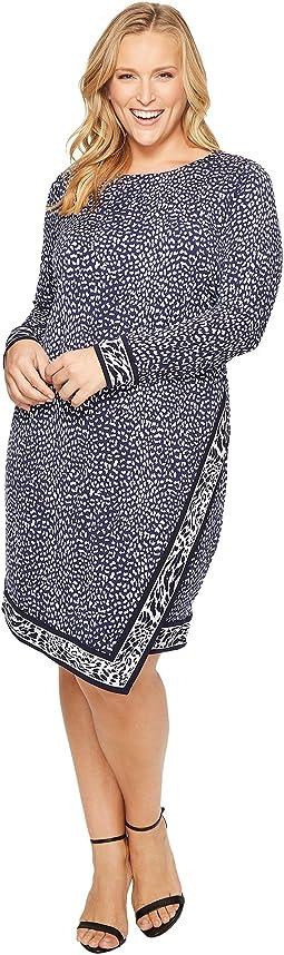Plus Size Cheetah Border Wrap Dress