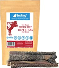 Raw Paws 6-inch Beef Green Tripe Sticks for Dogs - Packed in USA - Dried Tripe Dog Treats from Natural, Free-Range, Grass Fed Cows No Added Antibiotics or Hormones - Dehydrated Green Tripe for Dogs