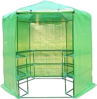 Outsunny Portable 3-Tier Shelf Hexagonal Walk In Greenhouse, 7.5-Feet