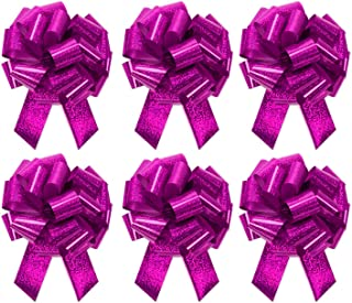 """Large Metallic Hot Pink Holographic Dots Gift Wrap Pull Bows - 5"""" Wide, Hot Pink Ribbon Big Pull Flower Bows for X-mas Gif..."""