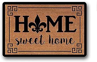 Printed Floor Mat Bath Mat Machine Washable Fleur De LYS-Fleur De LYS Home Sweet Home Joyer Welcome Mat Doormat Non Slip D...