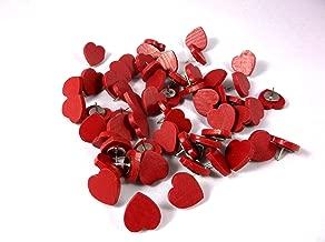 50 Red Wooden Heart Thumb Tacks