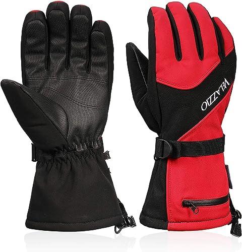 Ski Gloves - VELAZZIO Waterproof Breathable Snowboard Gloves, 3M Thinsulate Insulated Warm Winter Snow Gloves, Fits b...