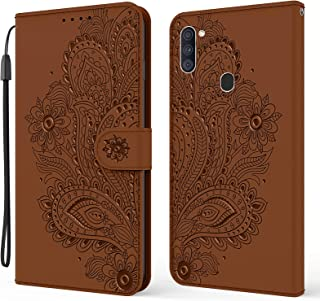 EnjoyCase Wallet Case for Samsung Galaxy A11/M11,Pretty Embossed Peacock Flower Pu Leather Magnetic Closure Hand Strap Kic...
