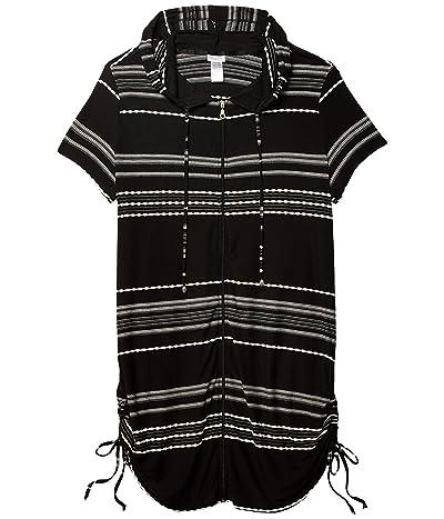 DOTTI Plus Size Stripe Zip Front Hoodie Dress Cover-Up (Black/White) Women