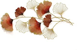 Artact Wall Art Quirky Hand Painted Peach and Orange Leaves Branches High Gloss Gold Finish on Metal