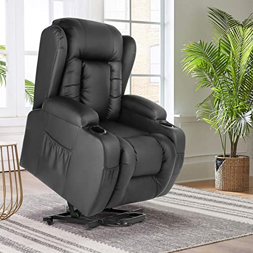 new arrival Artist Hand Electric Power Lift Leather Recliner, Lift Massage Chair for Elderly Pregnantly, Living Room Sofa Chair with 8 Point discount Massage, Lumbar Heated, Two Cup high quality Holder outlet online sale
