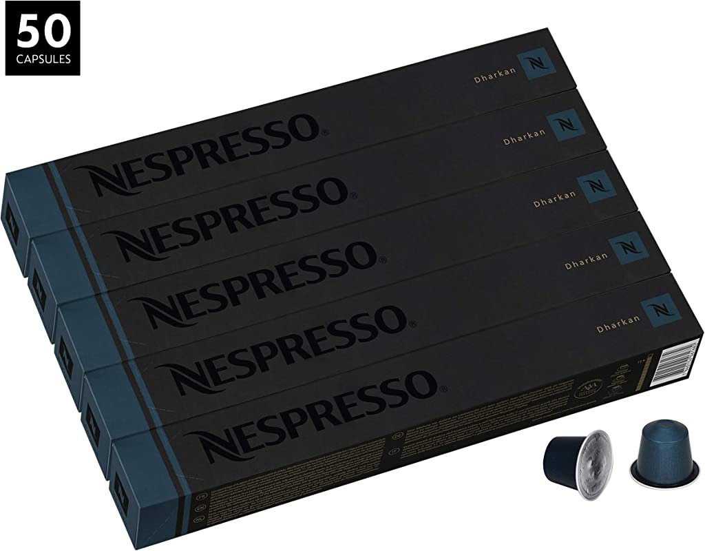 Nespresso Dharkan Intenso OriginalLine Capsules 50 Count Espresso Pods Intensity 11 Blend Long Roasted With Latin American Asian Coffee Flavors