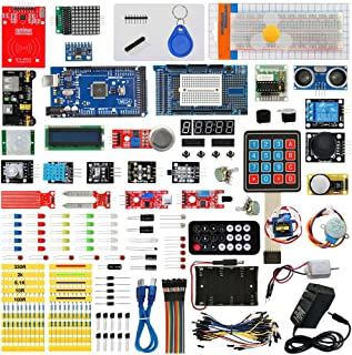 Seesii Ultimate Starter Kit with Tutorial Compatible with Arduino MEGA 2560 R3 Nano Servo Motor, modules, sensors(230 Components)