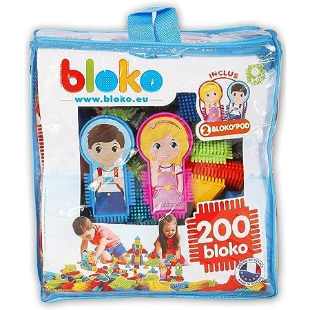 BLOKO – Sac de 200 'BLOKO et 2 Figurines Famille – Dès 12 mois – Fabriqué en Europe – Jouet de construction 1er âge – 503508
