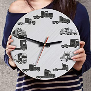 VTH Global 12 Inch Silent Battery Operated Semi Trucks Wood Wall Clocks Gifts for Truckers from Wife
