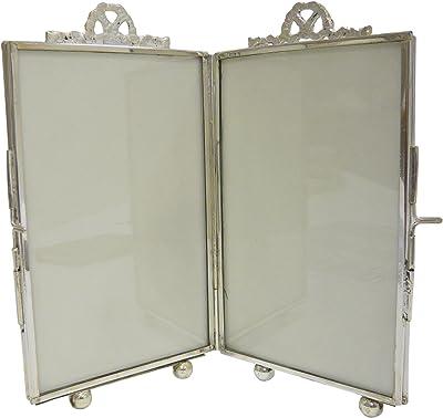 Better & Best Folding Photo Frame, Glass, Metal, Silver, 10 x 5