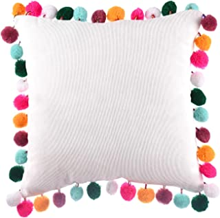 leegleri Decorative Pom-Poms Throw Pillow Cover, Soft Velvet Colored Rainbow Pom Cushion Cover Pillow Case for Couch Sofa Bed (16x16 Pillow Cover)