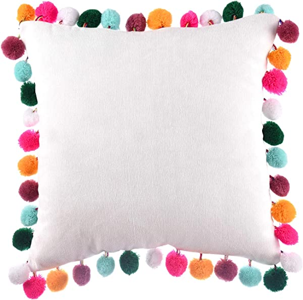 Rainbow Pom Poms Pillows White Throw Pillow Cover Cushion Pillow Case Decorative Corduroy Pillowcase For Couch Bed Sofa Home Car 16 X 16