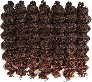 Ocean Wave Crochet Hair Curly Wave for black Women. 20 inch 7 packs 1B/30 Color Braids Hair Extension. (20 inch, 1B/30)