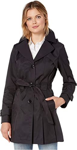 93cba24efe625 Hilary radley studio belted single breasted trench coat black + FREE ...