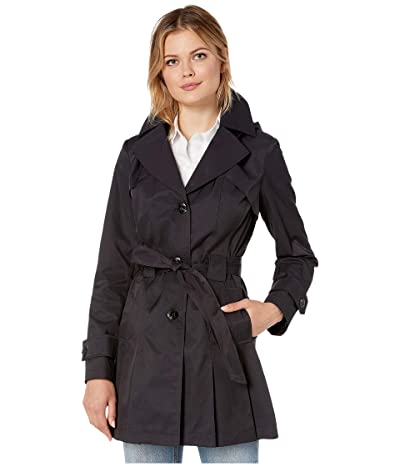 Via Spiga Single Breasted Hooded Belted Trench (Navy) Women