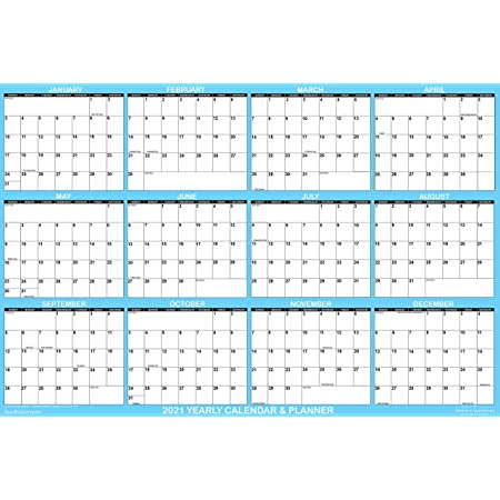 Academic or Home SwiftGlimpse 48 x 72 Large Jumbo Oversized Erasable Laminated Blank Annual Yearly Wall Calendar Poster Reusable for Office 12 Months