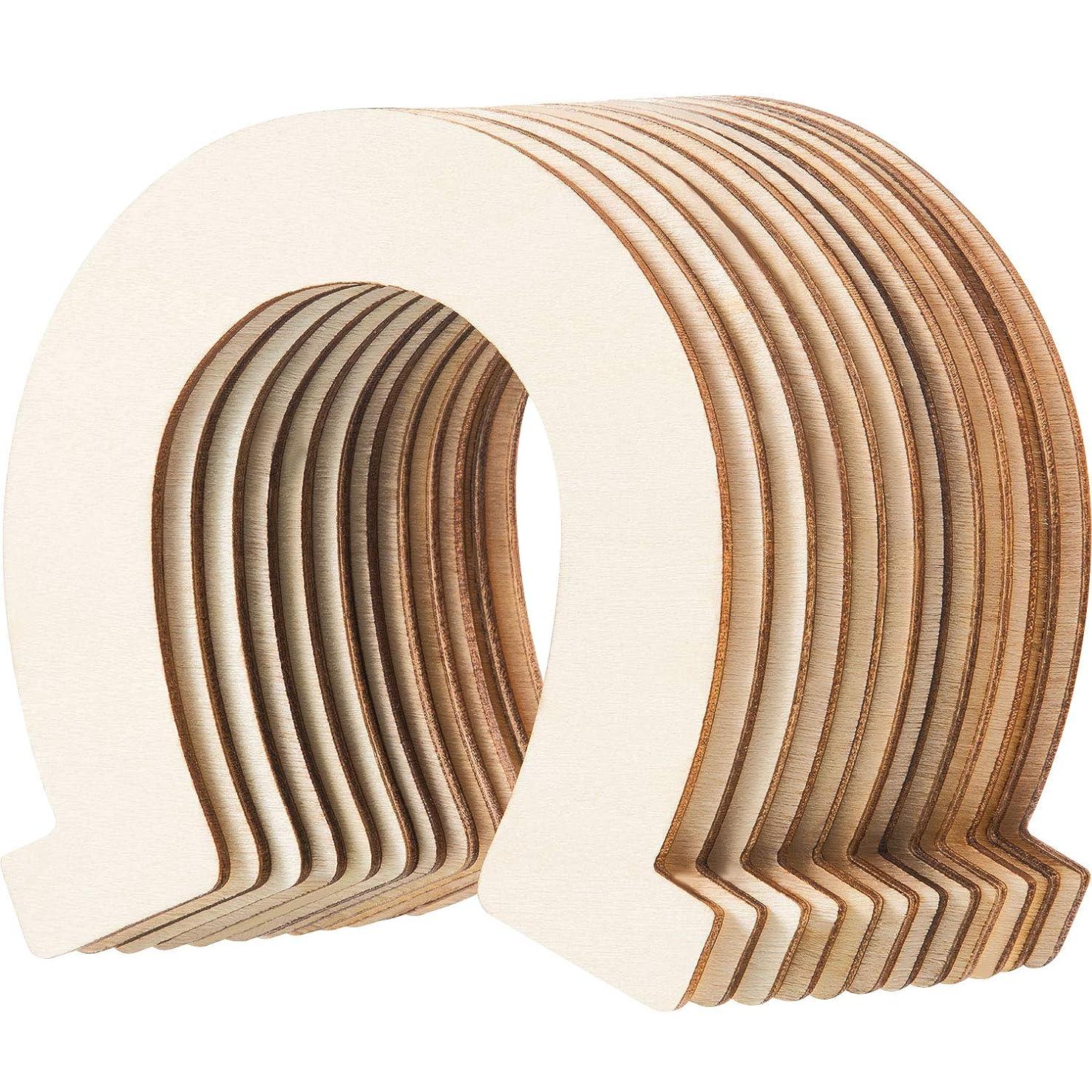 Wood Horseshoe Cutouts Unfinished Wooden Horseshoe Discs Slices Decoration for DIY Craft, Wedding, Party and Birthday(96 Packs)
