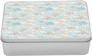 Ambesonne Nautical Tin Box, Pastel Toned Sea Shell Starfish Mollusk Seahorse Coral Reef Motif Design, Portable Rectangle Meta