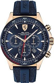 Ferrari Pilota, Quartz Rose Gold Plated and Silicone Strap Casual Watch, Blue, Men, 830621
