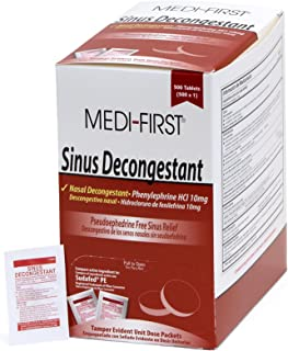 Medi-First Sinus Decongestant, Nasal Decongestion Pills - 1 Box of 500 Tablets
