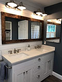 Shiplap Large Wooden Framed Mirror Available in 4 Sizes and 20 Colors: Shown in Provincial - Large Wall Mirror - Rustic Barnwood Style - Framed Mirror Wall Decor - 24x30-30x36-30x42-30x60