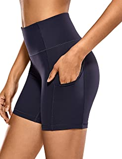 CRZ YOGA Women's Sport Shorts High Waist Tummy Control Shorts with Side Pockets-6 inches