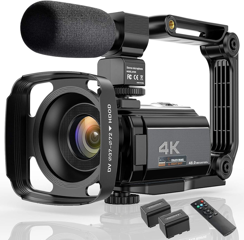 Video Camera 4K Camcorder Ultra HD 48MP WiFi IR Night Vision Vlogging Camera 3