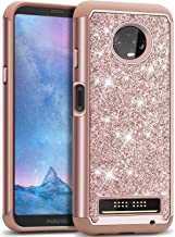 J&D Case Compatible for Moto Z3 Case, Moto Z3 Play Case, Sparkling [Glittering] [ArmorBox] [Dual Layer] Shock Resistant Hybrid Protective Rugged Case for Motorola Moto Z3 / Z3 Play Case - Rose Gold