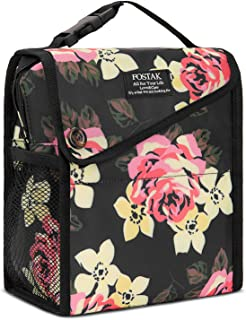 LOKASS Freezable Lunch Bag for Women Water-resistant Floral Cooler Bag Foldable Lunch Tote Bag Reusable Lunch Box with Zip Closure for Adults/Work/Beach/College, Peony