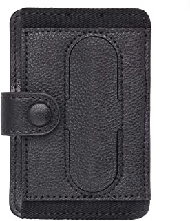 Phone Grip Card Holder with Phone Stand Stick on Wallet Safety Card Holder Adhesive Credit Card Holder Cell Phone Leather Wallet Grip Kickstand for Smartphones (Phone Stand Black)