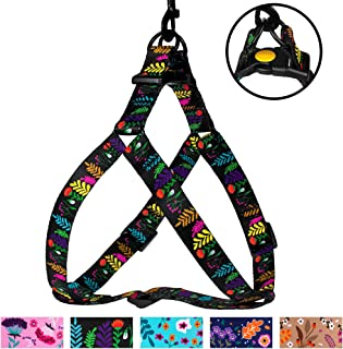 CollarDirect Floral Dog Harness Nylon Pattern Flower Print Step-in Soft Adjustable Pet Harnesses for Dogs Small Medium Large Puppy