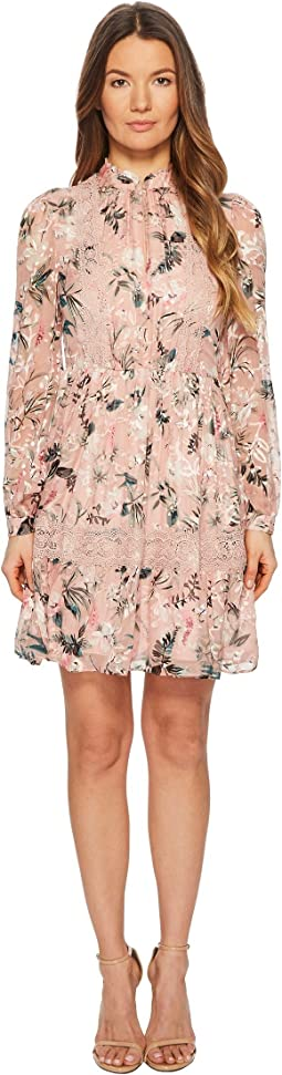 Botanical Chiffon Mini Dress