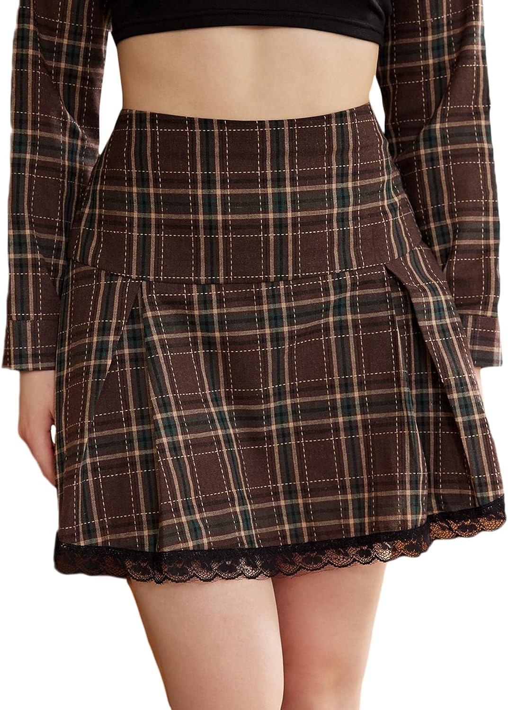 MakeMeChic Women's Plaid High Waist Contrast Lace Pleated A Line Mini Skirt