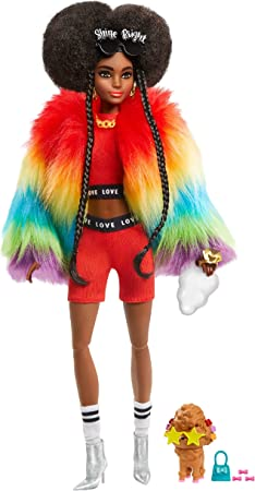 Barbie Extra Doll #1 in Furry Rainbow Coat with Pet Poodle, Brunette Afro-Puffs with Braids, Including 'Shine Bright' Sunglasses, Multiple Flexible Joints