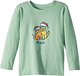 Life is Good Kids - Peace Cat Dog Long Sleeve T-Shirt (Toddler)