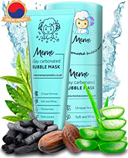 MeMe Carbonated Bubble Clay Mask 4oz. - Korean Face Skin care - Activated Charcoal & Bentonite prevent acne & detox - Organic Jojoba Oil, Aloe Vera & Witch Hazel – Blackhead Remover - Deep Cleansing