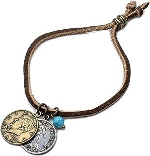 ブレスレット メンズ レディース 腕輪 レザー 本革 革 コイン 硬貨 ターコイズ 天然石