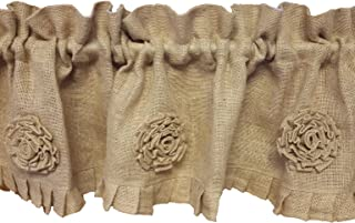Primitive Country Burlap Rose and Ruffle Window Valance