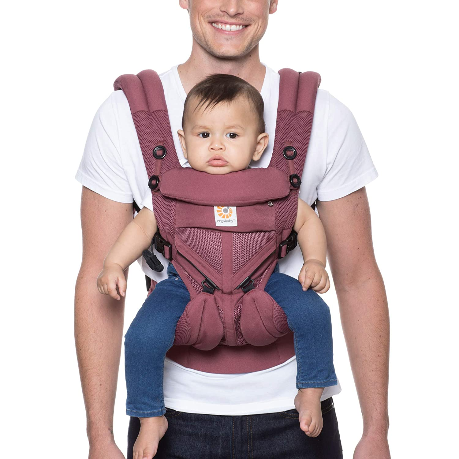 Ergobaby Omni 360 All-Position Baby Carrier for Newborn to Toddler with Lumbar Support & Cool Air Mesh (7-45 Lb), Plum