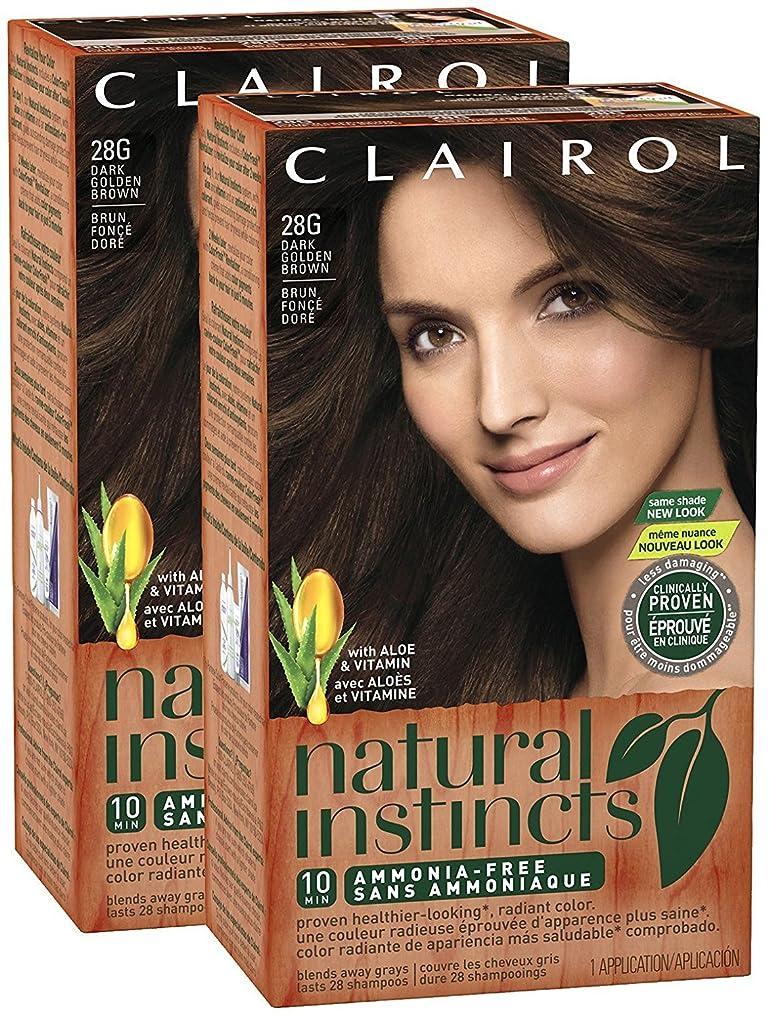 汚すプラス医薬品Clairol 自然の本能、028G、ゴールデンカプチーノ、ダークゴールデンブラウン、2 Pkを